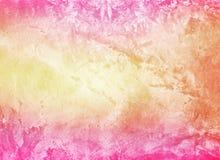 Parede amarela cor-de-rosa colorida brilhante do cimento do grunge ilustração stock