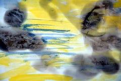 Fundo amarelo da aquarela e papel queimado Fotografia de Stock