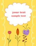 Fundo amarelo da flor do cartão do presente da criança Foto de Stock