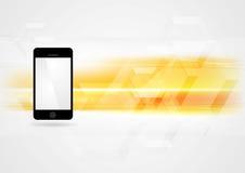 Fundo amarelo da tecnologia com smartphone ilustração royalty free