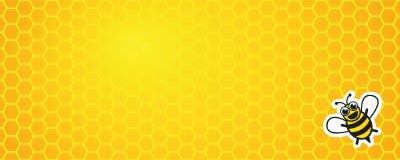 Fundo amarelo do favo de mel com abelha do mel ilustração royalty free