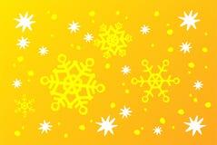 Fundo amarelo dos flocos de neve Fotos de Stock Royalty Free