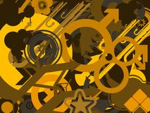 Fundo amarelo dos símbolos ilustração stock