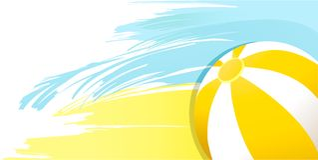 Fundo amarelo ensolarado do verão com bola de praia Imagem de Stock