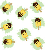 Fundo amarelo mordido do gelado da vara ilustração stock