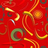 Fundo amarelo vermelho abstrato, teste padrão sem emenda 18-25 Imagens de Stock