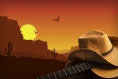 Fundo americano da música country com o chapéu da guitarra e de vaqueiro Fotografia de Stock Royalty Free