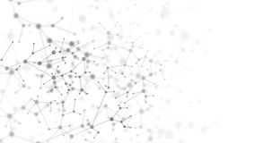 Fundo animado abstrato da estrutura molecular do ADN do cinza