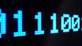 Fundo animado dado laços com linha running com cor luz-azul do código binário na tela preta pixels 4K Laço sem emenda ilustração do vetor