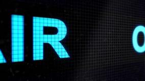 Fundo animado dado laços com linha running com cor luz-azul do texto NO AR na tela preta pixels vídeos de arquivo