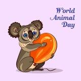 Fundo animal do conceito da coala do dia do mundo, estilo dos desenhos animados ilustração royalty free