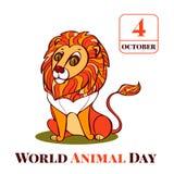 Fundo animal do conceito do leão do dia do mundo, estilo dos desenhos animados ilustração do vetor