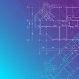 Fundo arquitectónico azul ilustração royalty free