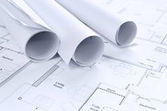 Fundo arquitectónico dos desenhos. Imagens de Stock Royalty Free