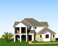 Fundo arquitetónico com árvore, grama e céu ilustração royalty free