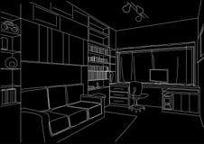 Fundo arquitetónico do preto da sala de estar do armário do esboço Imagem de Stock Royalty Free