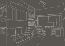 Fundo arquitetónico linear do cinza da sala de estar do armário do esboço Fotos de Stock Royalty Free