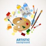 Fundo artístico com paleta e pinturas Fotografia de Stock