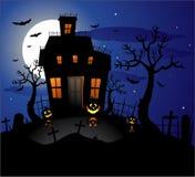 Fundo assombrado de Halloween da casa Fotos de Stock