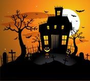 Fundo assombrado de Halloween da casa imagem de stock royalty free