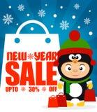 Fundo até 30% da venda do ano novo fora com a criança no pinguim do traje ilustração stock