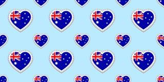 Fundo australiano do vetor da bandeira Teste padrão sem emenda da bandeira nacional de Austrália Etiquetas lustrosas vazias do ve ilustração stock