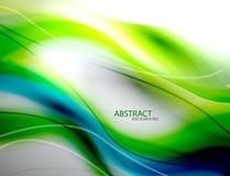 Fundo azul abstrato borrado da onda verde Fotos de Stock