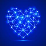 Fundo azul abstrato com coração brilhante Ilustração do vetor ilustração stock