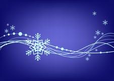 Fundo azul abstrato com floco de neve Fotografia de Stock