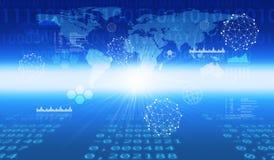 Fundo azul abstrato com linha de incandescência Foto de Stock Royalty Free