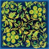 Fundo azul abstrato com ornamento floral ilustração royalty free