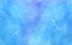 Fundo azul abstrato da aguarela Silhueta das gaivotas ilustração royalty free
