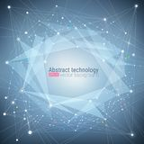 Fundo azul abstrato de turquesa da tecnologia Movimento caótico Estrutura da molécula do nó Ciência e conceito da conexão VE ilustração stock