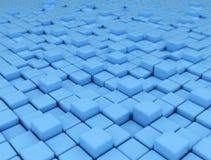 Fundo azul abstrato feito dos cubos 3d Fotografia de Stock