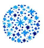Fundo azul bonito dos flocos de neve da aquarela Imagens de Stock