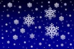 Fundo azul com cristais da neve Imagens de Stock