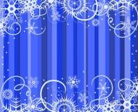Fundo azul com flocos de neve Imagens de Stock Royalty Free
