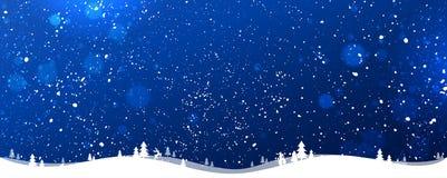 Fundo azul com flocos de neve, luz do Natal do inverno, estrelas Cartão do Xmas e do ano novo ilustração stock