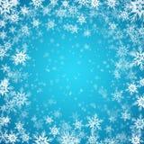 Fundo azul com flocos de neve Vetor Foto de Stock Royalty Free