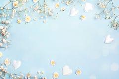 Fundo azul com flores e corações do gypsophila Espaço para o te Imagem de Stock Royalty Free