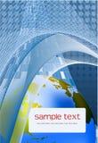 Fundo azul com fundo do globo ilustração stock