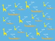 Fundo azul com girafa e crocodilo Imagem de Stock