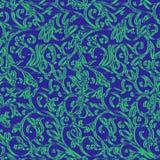 Fundo azul com luz - ornamento floral verde Ilustração Fotografia de Stock