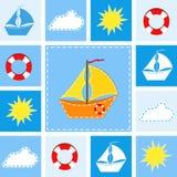 Fundo azul com navio. ilustração royalty free
