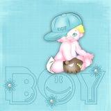 Fundo azul com o bebê-menino Foto de Stock Royalty Free
