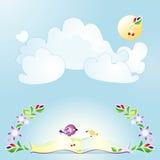 Fundo azul com o sol, os pássaros e as flores Foto de Stock Royalty Free