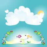 Fundo azul com o sol, os pássaros e as flores Illustra do vetor Fotografia de Stock Royalty Free