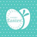 fundo azul com os ovos felizes da rotulação e do coelho de easter Fotos de Stock