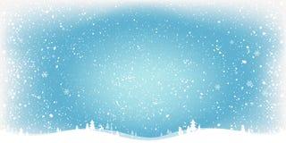Fundo azul com paisagem, flocos de neve do Natal do inverno, luz, estrelas Cartão do Xmas e do ano novo ilustração royalty free