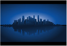 Fundo azul da arquitectura da cidade Foto de Stock Royalty Free